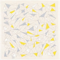 Furoshiki gift wrapping cloth in yellow and grey cracked ice pattern of triangles, by Musubi and available at NiMi Projects UK.