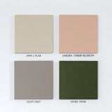 Japanese designer Atelier Yocto colour swatch of Ama Flax beige, Sakura Cherry Blossom Pink, Light Grey and Mosu Moss green - NiMi Projects