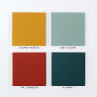 Japanese designer Atelier Yocto swatch of Karashi Mustard yellow, Seiji Celadon green, Shu Vermilion red and Ai Indigo blue-green - NiMi Projects UK