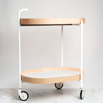 MOHEIM DRINKS TROLLEY, IN WHITE, WITH REMOVABLE TRAYS, JAPANESE MINIMALIST DESIGN, MADE IN JAPAN