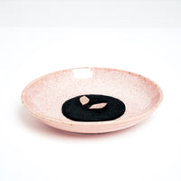 Trunk Design Washi Paper incense, displayed on a pink, speckled Mino-yaki (Mino ware) Japanese porcelain dish, made in Japan and available at NiMi Projects UK