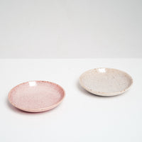 Japanese porcelain Mino-yaki (Mino Ware) dish in specked white or pink, hand glazed and made in Japan. Available in store and online at NiMi Projects UK