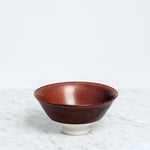 Nishiyama Brown porcelain Rice Bowl, Japanese design, made in Japan