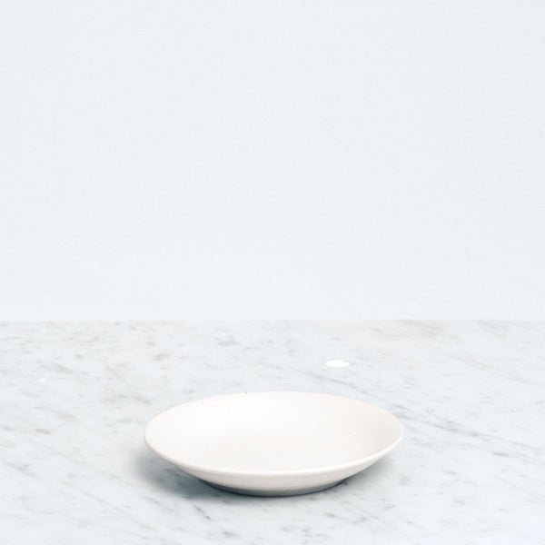 Nishiyama White ceramic Fosco Plate, Japanese minimalist design, made in Japan