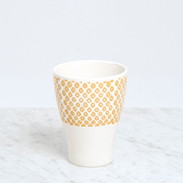 Nishiyama ceramic Kanako Frost Cup,  with yellow dots, Japanese design, made in Japan