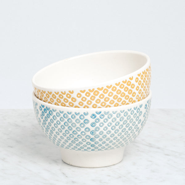 Nishiyama ceramic Kanako Frost Bowls, with green and yellow dots, Japanese design, made in Japan