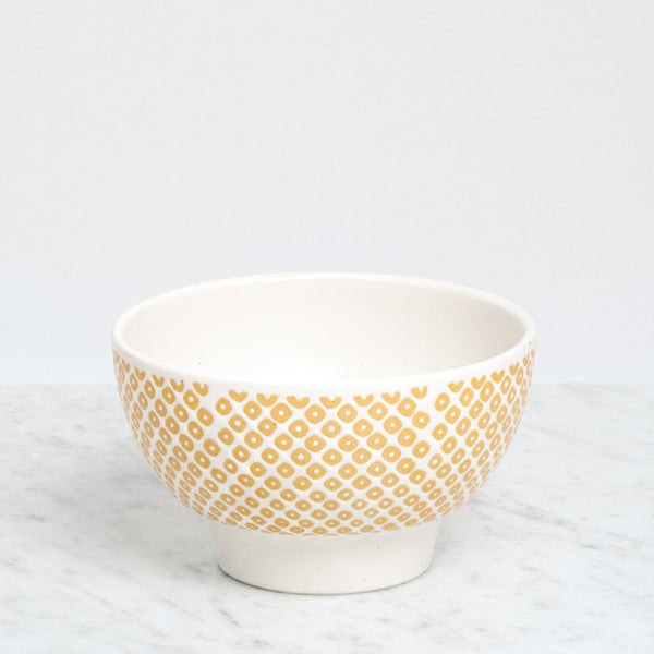 Nishiyama porcelain Kanako Frost Bowl, with yellow dotted pattern, Japanese design, made in Japan