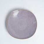 NiMi Projects UK Mino-yaki Japanese ceramic rounded square plate, lilac in colour with purple flecks, handcrafted in Gifu, Japan.