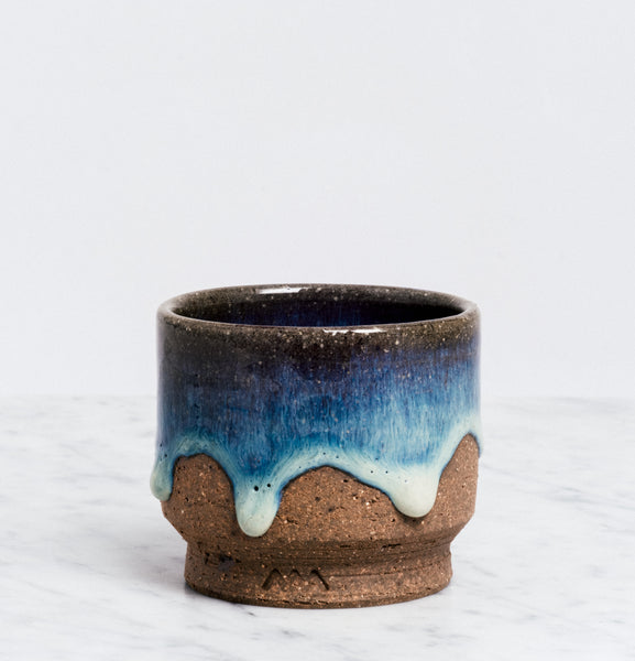 ASEMI MATSUSHIRO blue glaze CUP  JAPANESE CERAMIC MADE IN JAPAN