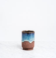 blue glaze ASEMI MATSUSHIRO CUP LARGE, JAPANESE artisanal CERAMIC, MADE IN JAPAN