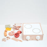 Dou? Little Chef wooden toy cooker plus ingredients. Designed in Japan