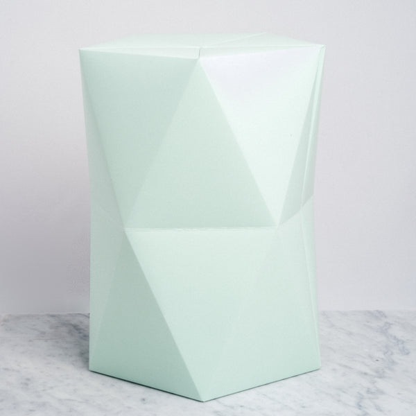 Catachi green origami inspired polygonal stool, designed and made in Japan