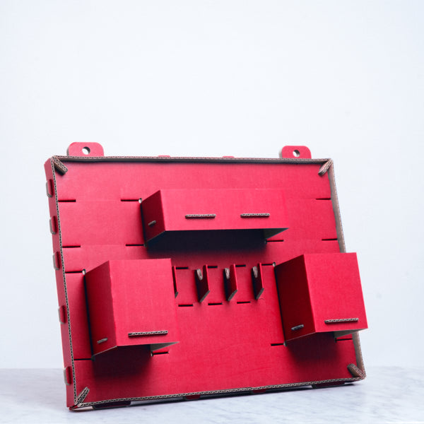 Catachi Olutani red cardboard organizer, made and designed in Japan.