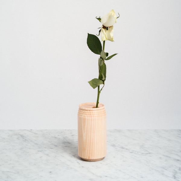The Knot Japanese cypress wood (hinoki) can vase, Japanese design, made in Japan.