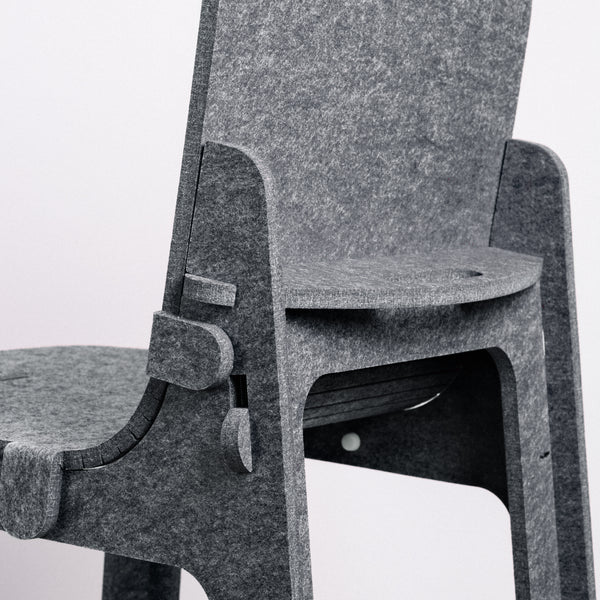 Grey Feelt children's chair, Japanese design, made in Japan with recycled materials