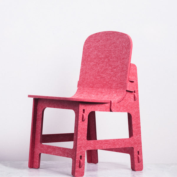 Red Feelt children's chair, Japanese design, made in Japan with recycled materials
