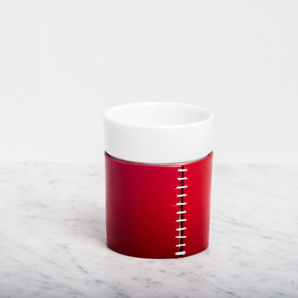 VESTINO PORCELAIN CUP WITH RED LEATHER COVER, JAPANESE  DESIGN, MADE IN JAPAN