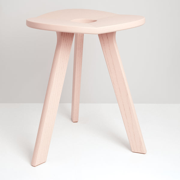 Atelier Yocto's cherry blossom pink three-legged Flower Stool Triangle featuring Japanese carpentry joinery is hand crafted in Japan and  available at Japanese contemporary homeware store NiMi Projects UK