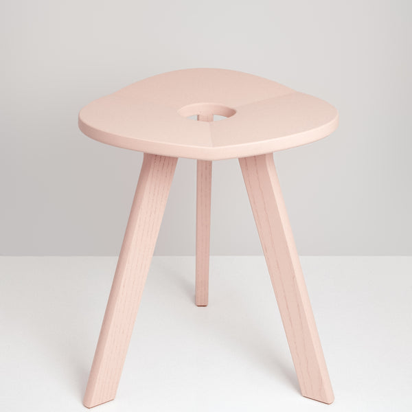 Made in Japan, Atelier Yocto's sakura pink three-legged Flower Stool Triangle uses traditional Japanese carpentry techniques - available at Japanese contemporary homeware store NiMi Projects UK