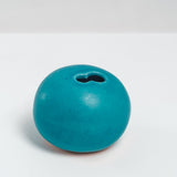 BLUE PORCELAIN OKADA ROUND PEBBLE BUD VASE, HANDMADE IN JAPAN, JAPANESE DESIGN