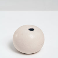 WHITE PORCELAIN OKADA ROUND PEBBLE BUD VASE, HANDMADE IN JAPAN, JAPANESE MINIMALIST DESIGN