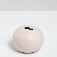 WHITE CERAMIC OKADA ROUND PEBBLE BUD VASE, HANDMADE IN JAPAN, JAPANESE DESIGN