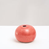 RED CERAMIC OKADA ROUND PEBBLE BUD VASE, HAND CRAFTED IN JAPAN, JAPANESE DESIGN