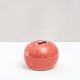 RED PORCELAIN OKADA ROUND PEBBLE BUD VASE, HANDMADE  IN JAPAN, JAPANESE DESIGN