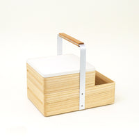 White Atelier Yocto Tray lid on an Okamochi carry box, hand crafted in Japan using traditional Japanese joinery techniques, available at NiMi Projects, UK.