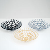 Three Saburo Afumi transparent conical glass bowls, with vibrant large grid patterns in navy blue, cornflower blue and yellow, hand crafted in Japan and available at NiMi Projects UK.