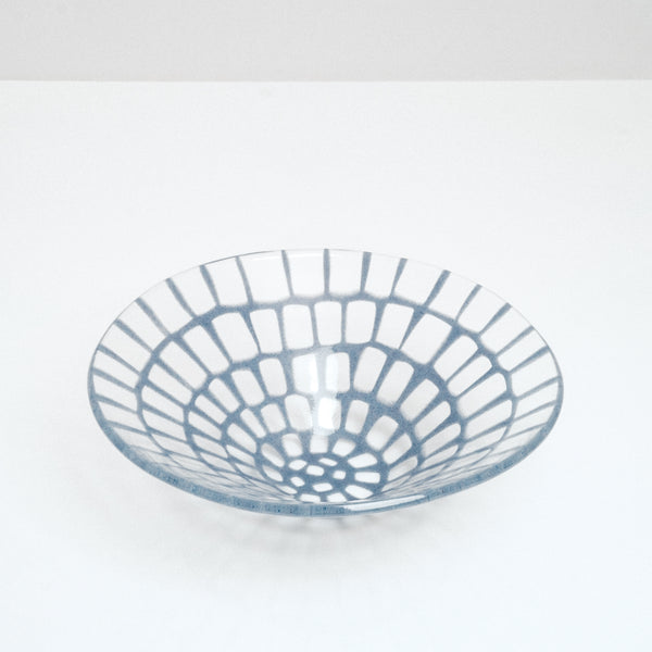 Artisanal large glass conical bowl with cornflower blue grid pattern, hand made in Japan by Saburo and available at NiMi Projects UK.