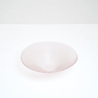 A large pink conical Shari Shari glass bowl, textured with tiny bubbles for a soft frosted effect. Handmade in Japan by Saburo and sold at NiMi Projects UK.