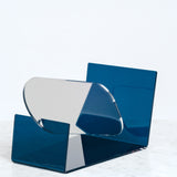 BLUE SEKISAKA WARE TRANSPARENT MIRROR, MADE BY A TRADITIONAL LACQUERWARE COMPANY, JAPANESE DESIGN, MADE IN JAPAN