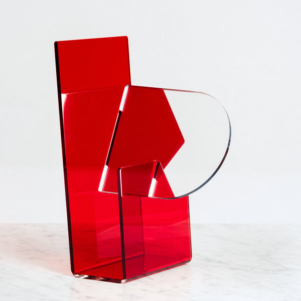 RED SEKISAKA WARE TRANSPARENT MIRROR DESIGNED BY TRADITIONAL LACQUERWARE COMPANY, JAPANESE DESIGN, MADE IN JAPAN