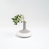 Watanabe Thoki porcelain ceramic round bottomed vase, Japanese minimalist design, hand crafted in Japan