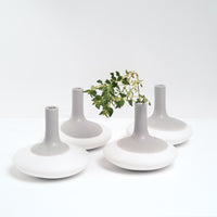 Watanabe Thoki ceramic porcelain round bottomed vases, Japanese minimalist design, made in Japan