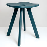 Japanese designer Atelier Yocto's Flower Stool Square in Ai Indigo blue-green, featuring Japanese carpentry joinery, available at Japanese contemporary homeware store NiMi Projects UK