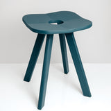 Atelier Yocto's Flower Stool Square in Ai Indigo blue-green, is hand crafted in Japan using traditional Japanese carpentry techniques - available at Japanese contemporary homeware store NiMi Projects UK