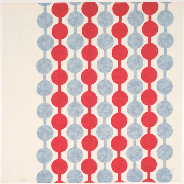 A white furoshiki wrapping cloth featuring a design of grey and red dots joined with lines. The pattern was designed by Takehisa Yumeji, a Taisho Era artist and poet.