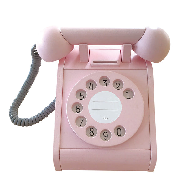 Pink Kiko + wooden toy telephone with moving parts, Japanese design