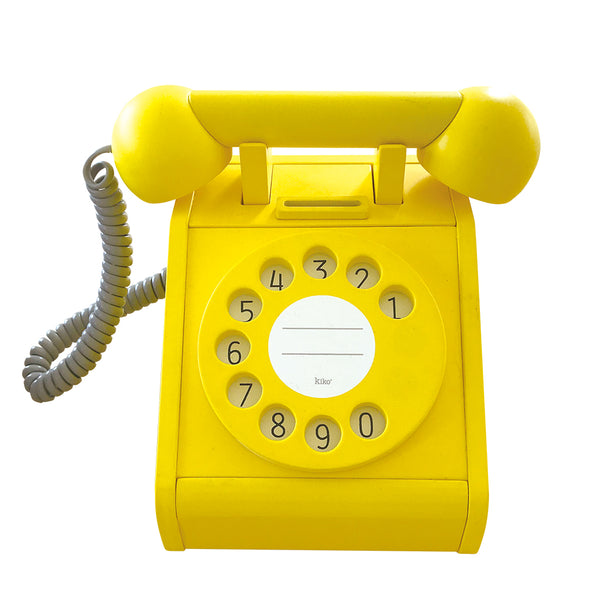 Yellow Kiko + wooden toy telephone with moving parts, Japanese design