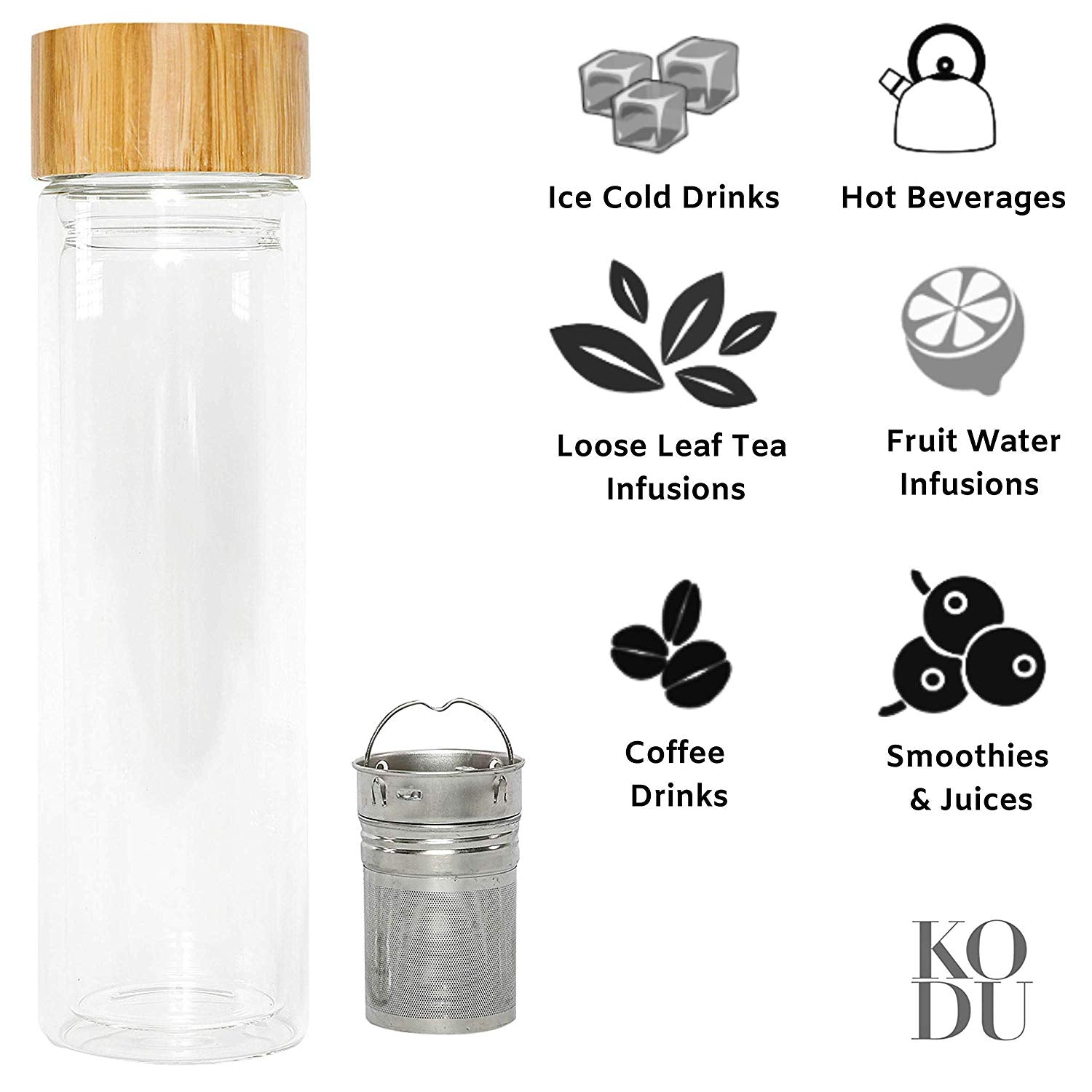 Kodu Tea Infuser Bottle & Berry Happy Loose Leaf Tea -  500ml Tea & Fruit Infusions