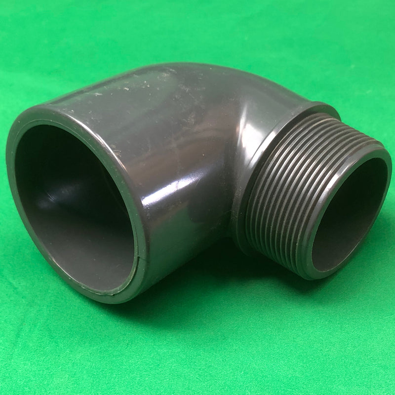 "63mm Slip 90 Elbow to 2"" Male Thread - WaterFeature.Shop"