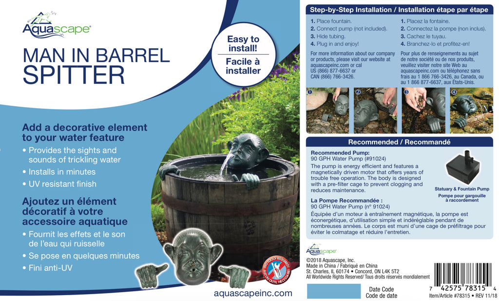Aquascape UK Man In Barrel Spitter 78315 - WaterFeature.Shop
