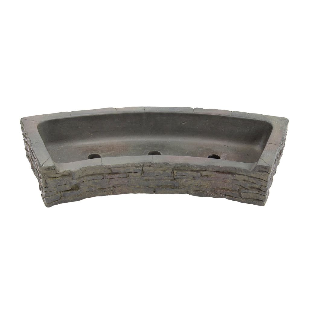 STACKED SLATE WALL TOPPER - FRONT-SPILL CURVED - UK - WaterFeature.Shop