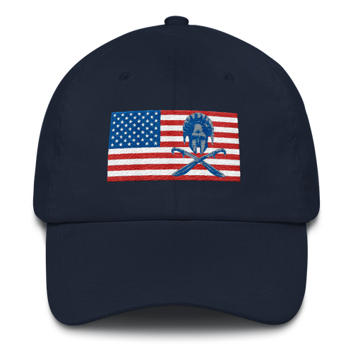 American flag hoplite Dad hat - Navy