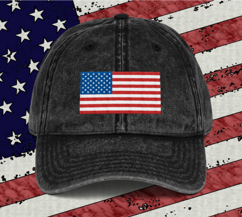 American Flag Vintage Cotton Twill Cap - Black