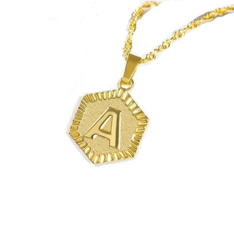 Personalized Initial Hexagon Necklace