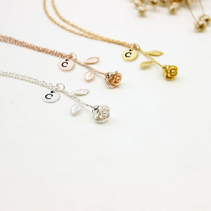 Initial Rose Necklace