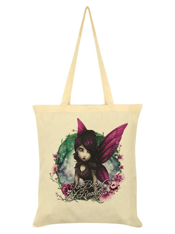 Hexxie Rose So Bored Of Reality Cream Tote Bag